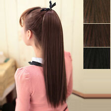 Tail Hair Extension Clip In Ponytail Pony Wrap On Hair Piece Straight Style