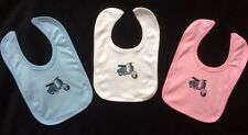 *Blue Cream Vintage Scooter* Baby Bib (Lambretta vespa) Pink White or Blue