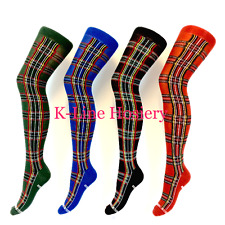 1 Pair Flirt Ladies Girls Tartan Scotland Scottish Over The Knee Socks, Size 4-7