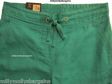 New Womens Marks and Spencer Green Linen Wide Leg Trousers Size 14 12 10 6