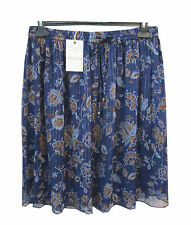 M&S Blue Floral Print Lined Drawstring & Elastic Waist Skirt