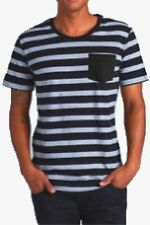 Tone Stripe Pocket T-Shirt in Black/Grey Marle