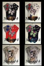Women Ladies Butterfly Print T-Shirt Tiger Sequin Stud Top Plus Size 20 22 24