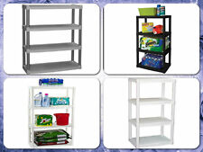 Storage Shelf Plastic 4-Tier Shelving Organizer Cabinets Racks Units Garage Home