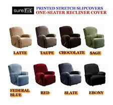 SUREFIT Stretch 1 Seater Recliner Cover Red Ebony Sage Taupe Latte Blue Brown ..