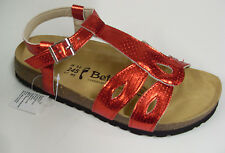 NEW! Betula by Birkenstock 126312 Red Shiny Adjustable Ankle Strap Sandals