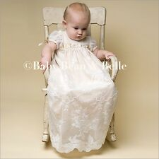 """Baby Beau & Belle """"Louisa"""" girls ivory champagne Christening and Baptism gown"""