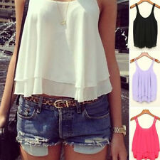 Sexy Girl Summer Casual Sleeveless T Shirts Chiffon Loose Vest Tank Tops Blouse