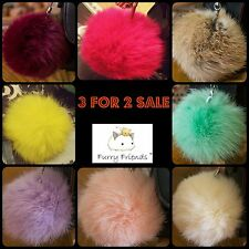 Ladies Furry Keyring Pompom 8cm Accessory Teal Lilac Pink Bag Fur Clothes Girl