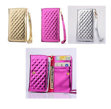 luxury universal Wallet Card Holder PU leather Case Cover with strap for Nokia
