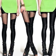 Sex Leather Stretchy Leggings Mesh Splicing Winter Pants Women Black Trousers