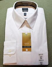 New Men's Arrow Classic Fit Silky Touch Dress Shirt - White Color - MSRP: $45