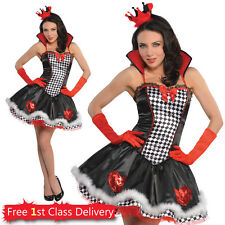 Ladies Sexy Queen of Hearts Fancy Dress Costume Sizes UK 8-16 Wonderland Outfit