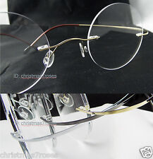 Rimless titanium Reading glasses Vintage 100% round 1.0 to 4.0 gold/silver/gray