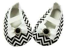 Black Chevron Baby Crib Shoes with Bows - Newborn, 3-6 Months, 6-12 Months
