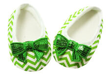 Green Chevron Baby Crib Shoes with Sequin Bows- Newborn, 3-6 Months, 6-12 Months