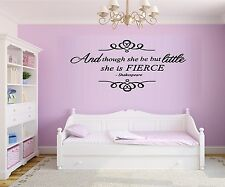 And though she be but little she is Fierce #1 ~ Wall Decal: Nursery