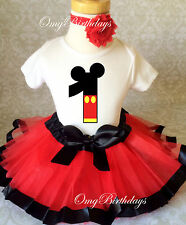 Red Black Mickey Mouse Baby Girl 1st First Birthday Tutu Outfit Shirt Set