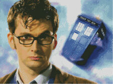 Cross stitch chart, pattern. Dr. Who, Tardis, David Tennant, Doctor, Time Lord