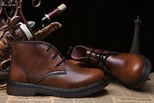 Vintage Mens casual lace up Genuine leather chukka High top work ankle Boots