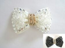 Black/Clear Beads White Butterfly Bow Crystal Wedding Bridal Shoe Clips Pair -CA