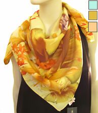 ECHO Design Silk Twill Floral Lily Palm Tropical Print Square Scarf