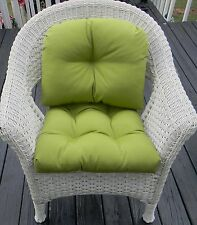 Cushion & Back Pillow Set for Wicker Chair ~ Solid Colors ~ Indoor Outdoor