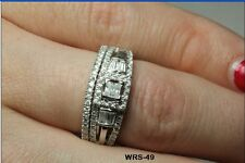 Hypoallergenic STERLING SILVER 925 CZ VINTAGE STYLE ENGAGEMENT WEDDING RING SET