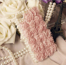 For Various Mobile Phones Bling Crystals Pearls Girly Lace Rose Floral Gems Case