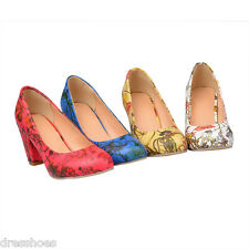 Women's Floral Print Synthetic Leather Mid Heel Shoes Round Toe Pumps AU Sz D058