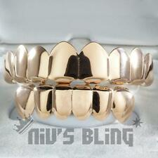18K Rose Gold Plated STAINLESS STEEL GRILLZ 8 Tooth Top and Bottom Hip Hop Grill