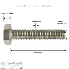 A2 Stainless Steel Hexagon Head Fully Thread Set Bolts/Screws *ALL SIZES*