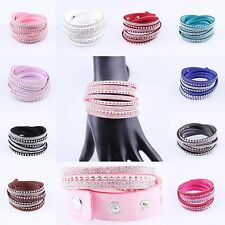 New Fashion Leather Wrap Wristband Cuff Punk Rhinestone Bracelet Bangle Gift