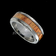 Koa Wood Hawaiian Jewelry Wedding Band Ring Engraving Titanium Scroll Design 8mm