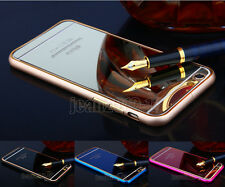 Luxury Make-up Mirror Effect Colour Tempered Glass Back+Metal Frame Case Cover #