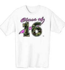GIRLS CLASS OF 2016 PINK AND GREEN CAMOUFLAGE WOMENS T-SHIRT IN SIZE SMALL-4XL