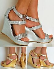 New Ladies Platform Wedge High Heels Party Wide Feet Diamante Sandals Shoes Size