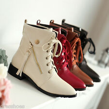 Women's Synthetic Leather Pointy Shoes Low Heel Lace Up Ankle Boots Size AU O477