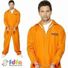 "CONVICT INMATE PRISONER BOILER SUIT FUGITIVE 38""-44"" - mens fancy dress costume"