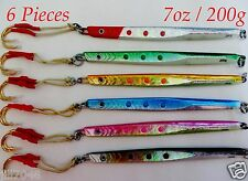 Speed Jigs 6 Pieces 7oz /200g Knife Vertical Butterfly Fish Lures -Choose Colors
