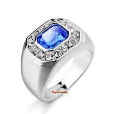 18k White Gold Plated Made with Swarovski Crystal Silver Navy Blue Men Ring R106