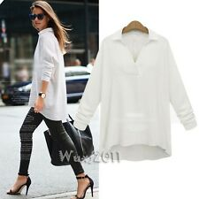 2015 Women V-neck Top Long Sleeve Casual Blouse Loose T-shirt Plus Size M L XL