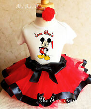 Mickey Mouse Red Black Baby Girl 1st First Birthday Tutu Outfit Shirt Set