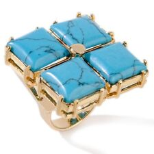 Tori Spelling 4-Square Turquoise Flower and Gold Tone Ring