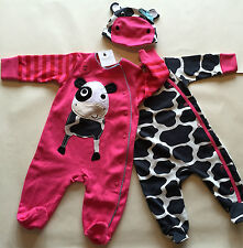 Bnwt Prossimo 2 Pack Sleepsuits E CAPPELLO MUCCA ANIMALI GIRL Babygrow TUTTO IN UNO ROSA