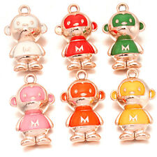 10/50pcs Colorful UV Gold Plated Animal Monkey Acrylic Pendants Crafts Jewelry D