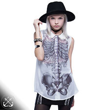 Iron Fist Creepers Peter Pan Blouse,Tattoo,Skeleton,Ribcage,Wishbone W4-022