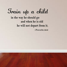 Train Up a Child Vinyl Wall Decal Quote Proverbs 22:6 Bible Nursery Wall (JR494)