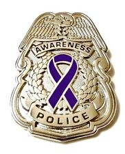 Police Badge Pin Purple Awareness Ribbon Security Officer Nickel Cancer Cause