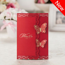 Laser Cut out Delicate Butterfly Wedding Invitations Cards and Envelopes, Seals